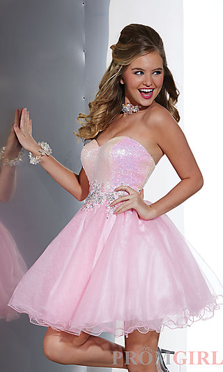 Prom Dresses, Celebrity Dresses, Sexy Evening Gowns - PromGirl: Strapless Sweetheart Babydoll Dress