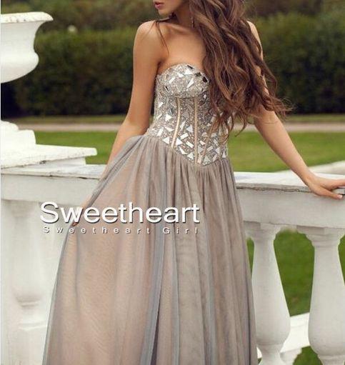 Charming light gray sweetheart neckline long prom dresses, evening dresses