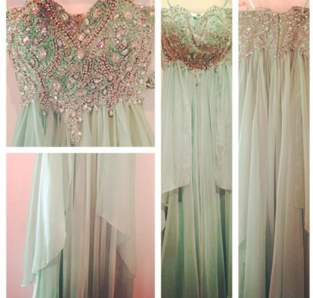 dress beaded bodice prom mint long dress