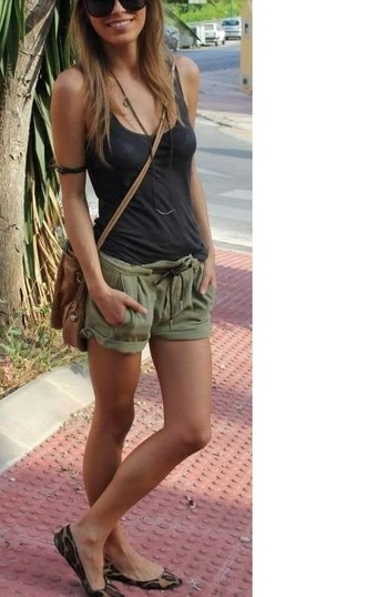 shorts olive green drawstring pockets casual