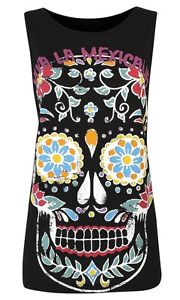 Primark Black Sugar Skull Floral Pint Retro T Shirt Top Tee Vest Festival 6-20 | eBay