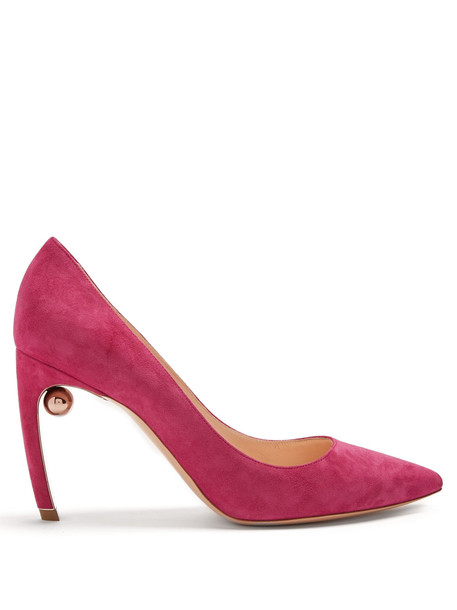 suede pumps pearl pumps suede pink shoes