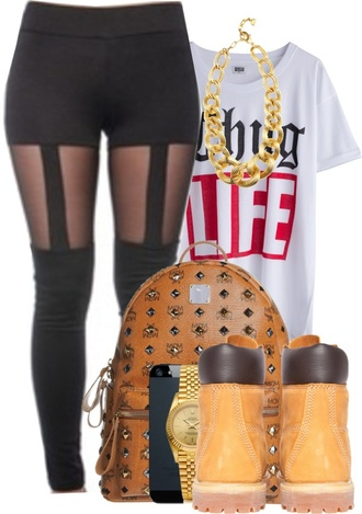 t-shirt backpack studded studs leggings black leggings gold chain chain thug life pants bag