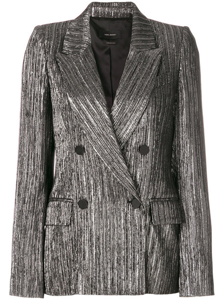Isabel Marant blazer metallic women cotton silk grey jacket