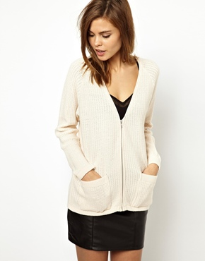 Warehouse | Warehouse Block Stitch Zip Front Cardigan at ASOS