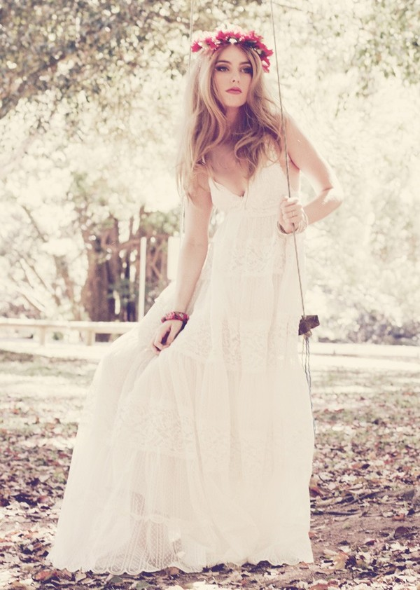 Dress vintage garden beautiful marriage lace sweet for Vintage maternity wedding dresses