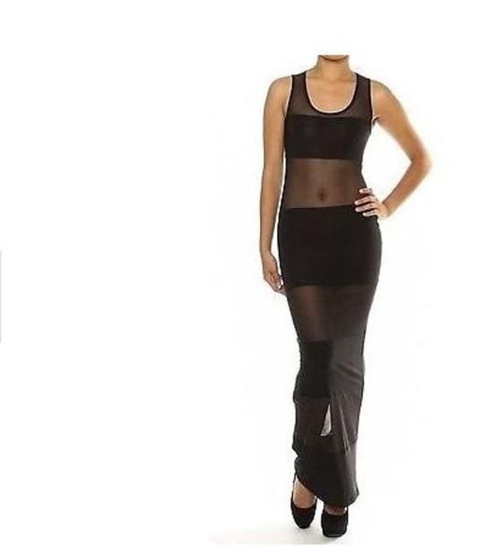 dress black panel sheer lace maxi dress maxi daya bbwl draya michele