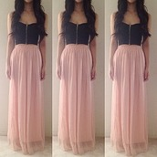 dress,skirt,bandeau,bralette,flowy,crop tops,maxi skirt,long,elegant,tank top,blouse,maxi dress,peach,black,bag,pink,chiffon,shirt,prom dress,peach skirt,maxi,pink skirt,strapless top,black crop top,long skirt,zip top,bustier zipp?,pastel pink and black dress,cute,top,long prom dress,prom,high-low dresses,long pink skirt,pink long skirt,length,girly,girl,tumblr skirt,outfit skirt,style,colorful,instagram,instagram skirt,blue,high heels,zip,pink dress,cute dress,chiffon long skirt,light orange,baby pink skirt,pink black long dress