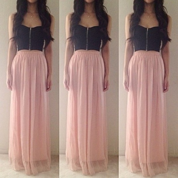 Dress skirt bandeau bralette flowy crop tops maxi skirt long elegant tank top blouse ...
