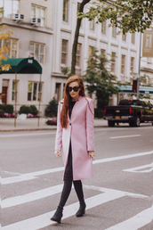 coat,tumblr,pink coat,leggings,black leggings,leather leggings,boots,black boots,sunglasses