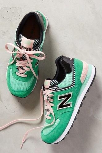shoes new balance nbhd green pink dress 574 striped shirt