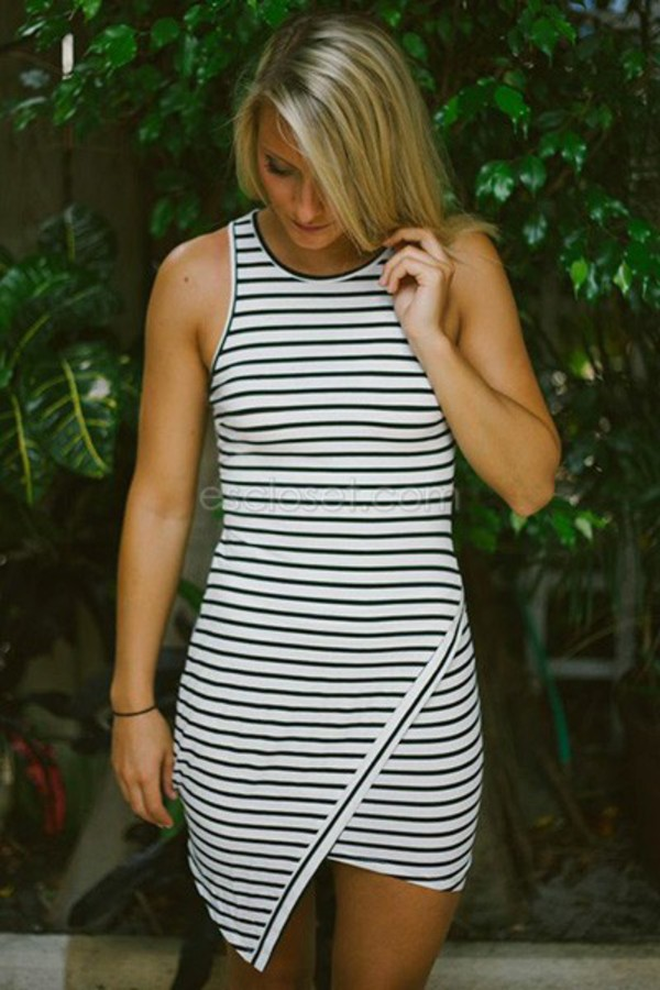 stripes asymmetrical skirt