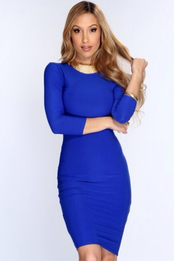 Dress: royal blue, bodycon, sexy party dresses, bodycon dress, hip ...