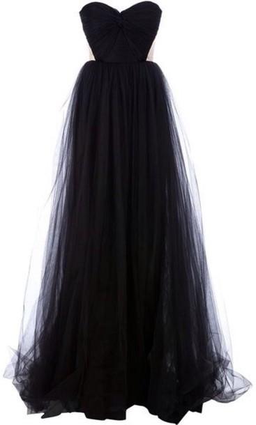 Long tulle black dress