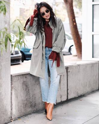 sweater tumblr red sweater jacket parka army green jacket boots brown boots sunglasses denim jeans light blue jeans
