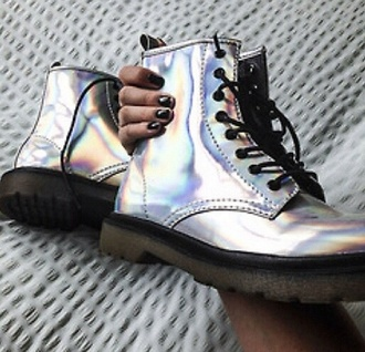 shoes silver boots combat boots grunge shiny grunge shoes holographic drmartens