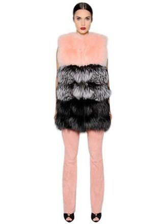 vest fur vest fur fox black pink jacket