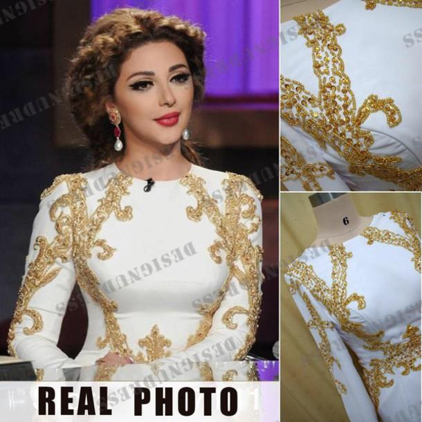 dress white dress gold and white dress