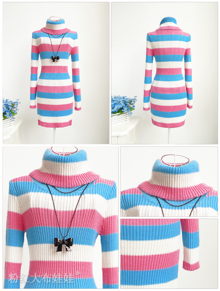2012 autumn white blue pink 3 color stripe turtleneck knitted  dress girl's sweater-inDresses from Apparel & Accessories on Aliexpress.com