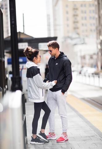 hello fashion blogger jacket leggings sunglasses black sneakers pink sneakers nike shoes nike jacket workout workout leggings sportswear menswear mens jacket