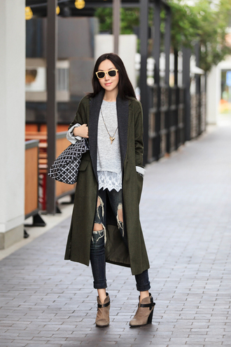fit fab fun mom blogger ripped jeans long coat grey sweater printed bag