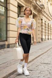 shorts,sports shorts,socks,white sneakers,puffed sleeves,floral,blouse,handbag,earrings