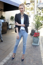 top,blazer,pumps,karlie kloss,jeans,fall outfits,model off-duty,streetstyle,jewels