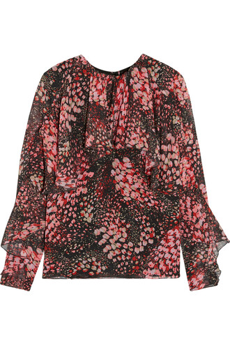 top floral print silk burgundy
