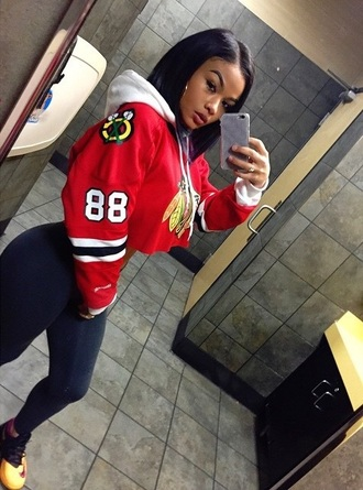 jacket shirt jersey black hawks half shirt old school gangsta ghetto sweater top india love india westbrooks cropped hoodie native american jeans pants red