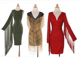 dress fringes suede retro one sleeve red black green gold sexy fall outfits new year's eve chain long party trendyish