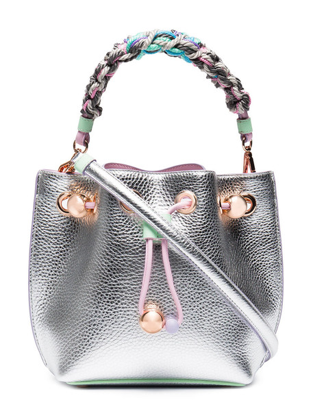 Sophia Webster women bag bucket bag leather grey metallic