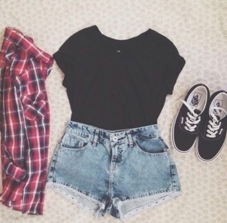 shirt shorts high waisted shorts flannel shirt red shirt