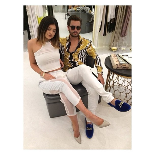 pants white stilettos kendall and kylie jenner keeping up with the kardashians celebrity style scott disick miami tank top shoes