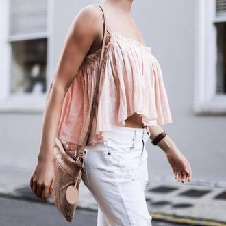 top tumblr gold bag crop tops pink top denim jeans white jeans bag metallic spring outfits