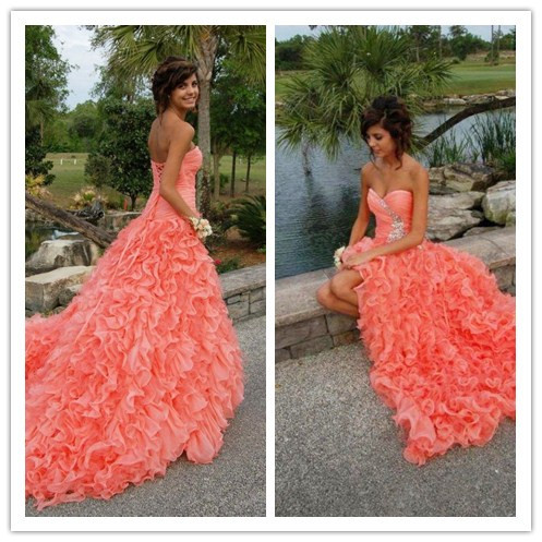 Aliexpress.com : buy sexy sweetheart beaded sequins high low prom dresses coral ruffles evening gowns dresses 2014 new fashion vestido de festa 572 from reliable dress kate suppliers on suzhou lovestorydress co. , ltd