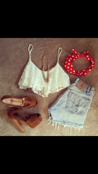 shirt shorts shoes outfit tumblr tumblr outfit cute lol nice beautiful perfect tank top crop tops top heel brown heels high heels wood heels denim shorts