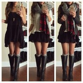dress,skirt,shoes,boots,scarf,style,sweater,coat