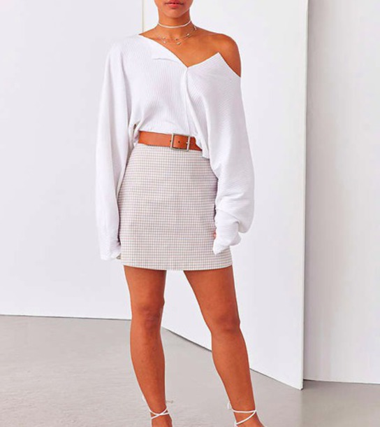shirt plaid plaid skirt white beige skirt mini skirt midi skirt urban outfitters