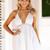 V Plunge Front Dress - White - Lookbook Store