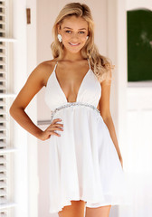 V Plunge Front Dress - White - Lookbook Store