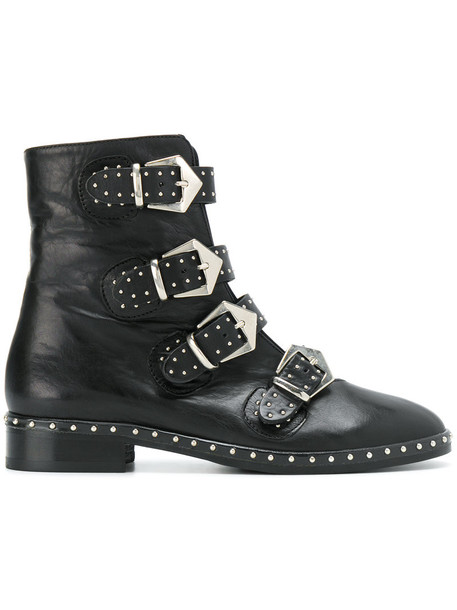 studded women buckle boots leather black shoes