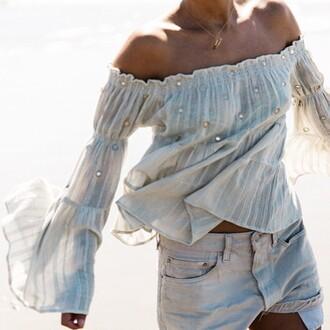 white top off the shoulder off the shoulder top bohemian boho peasant top summer top white summer top embellished top