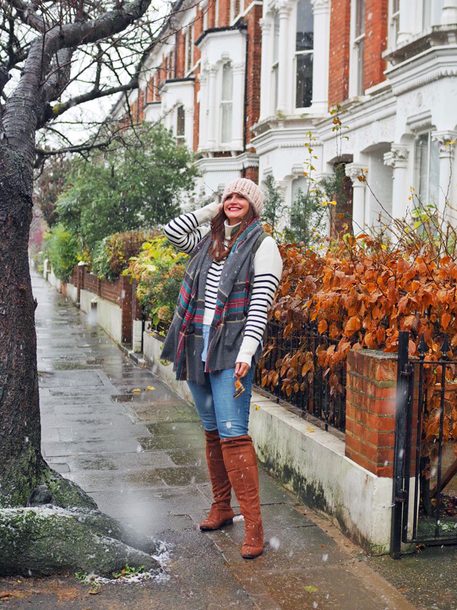 fashion foie gras blogger hat sweater jeans scarf winter outfits beanie boots over the knee boots