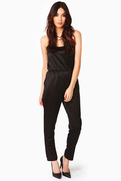Brandie Satin Jumpsuit in Black at Fashion Union