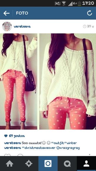 printed pants jeans rose stars