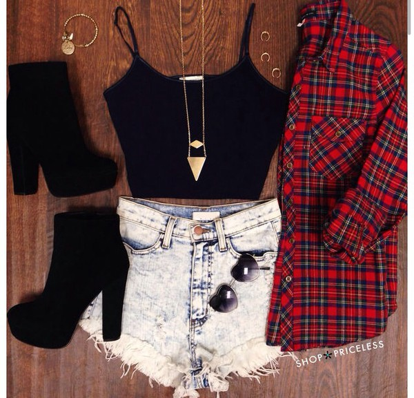 shoes flannel shirt crop tops High waisted shorts high heels grunge sunglasses