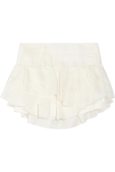 Isabel Marant|Kyle ruffled silk-jacquard mini skirt|NET-A-PORTER.COM