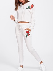 jumpsuit,girly,embroidered,white,two-piece,crop,cropped,cropped sweater,hoodie,joggers,sweatpants
