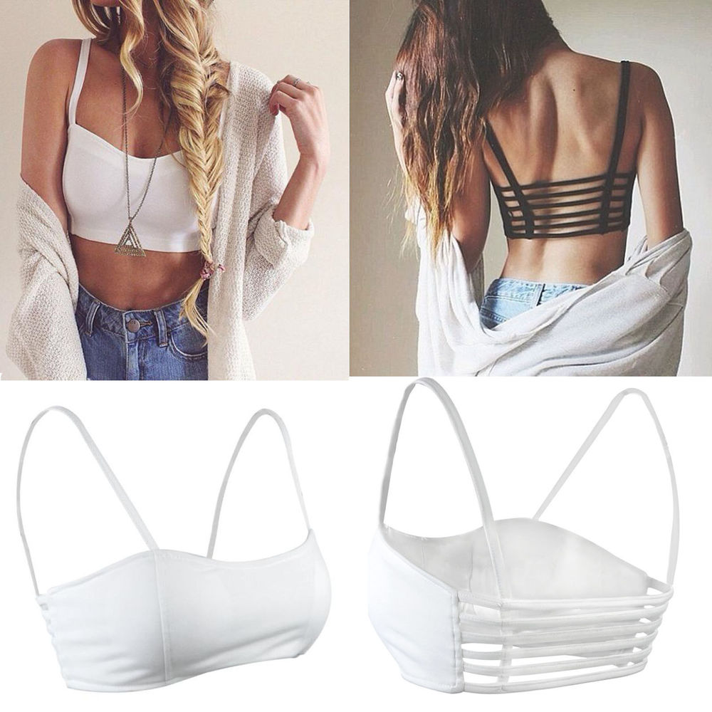 06053992cd245f Celebrity Sexy Girl Bralette Cage Caged Back Cut Out Padded Bra ...