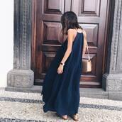 dress,tumblr,blue dress,maxi dress,long dress,pleated dress,high neck,nude bag,shoulder bag,summer dress,summer outfits,watch